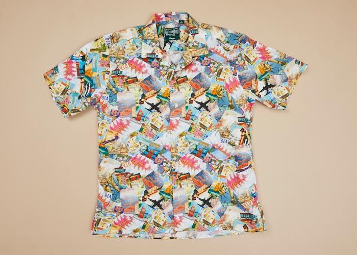 Vintage Sport Shirt Cities Multicolor Men