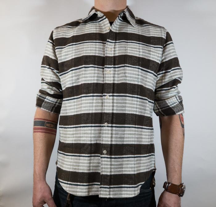 Twill Flannel L/S Shirt Moss Stripe Men