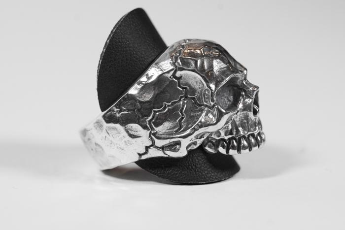Ring Skull Hammered
