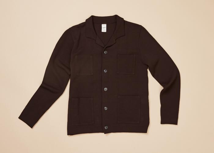 Cotton Knit Button Jacket 3 Pocket Men