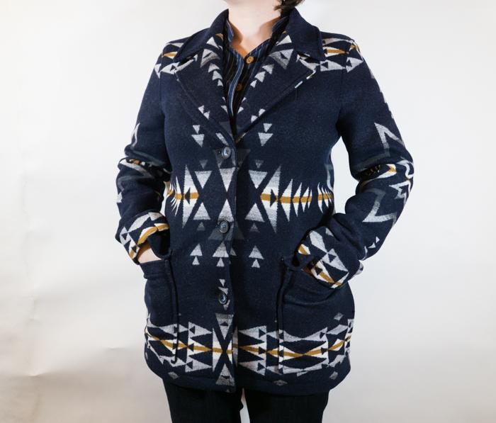 Wahkeena Coat Navy Plains Star Pattern Women